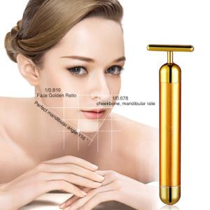 Pulse Wrinkle Removal Face-Lift Vibrating 24K Golden Homemade Easy to Carry T Type Facial Massage 24K Gold Energy Beauty Bar pictures & photos