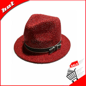 Red Paper Straw Fedora Hat pictures & photos