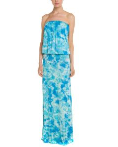 Ladies′ Abstract Print Strapless Dress