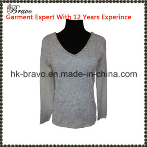 2015 Fashional Ladies V- Neck Long Sleeve Knitted Pullover Apparel with Stone and Lace (BR1512)