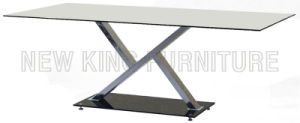 Modern Fashion Temper Glass Top with Stainless Steel Foot Dining Table (NK-DT015)