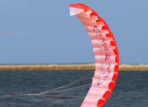 Dual Line Parachute Kite Rainbow Sports Beach Kite 30m Nylon Flying Lines Parafoil Kite with Control Handle pictures & photos