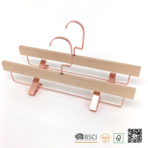 Eco Timber Gold Clips Bottom Custom Wooden Clothes Hanger Hangers for Jeans pictures & photos