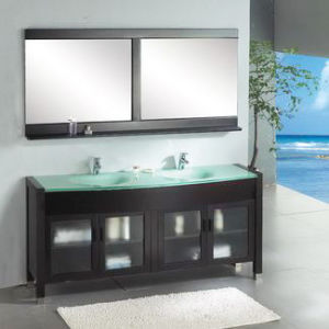 china lacquer dark brown dual sinks wood bathroom cabinet
