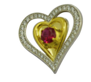 High Quality Double Heart Connector Link Charm Brooch pictures & photos