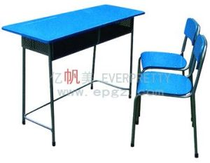 School Furniture Student Double Wooden Desk and Plastic Chairs pictures & photos