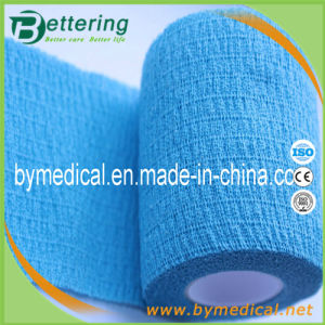 Breathable Self - Adhesive Blue Cohesive Cotton Elastic Bandage pictures & photos