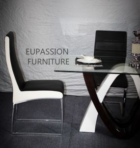 Modern Special Shape Design Glass Table with Shining Painting pictures & photos