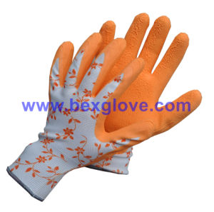 13 Gauge Nylon/Cotton/Spandex Liner, Latex Coating, Foam Finish Glove pictures & photos