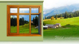 Luxury European Style Aluminum Profile Cladding Oak Wood Windows (Tilt & Turn)