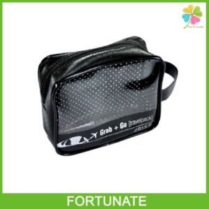 Black Functional Cosmetic Pipping PVC Zip Carrier Bag pictures & photos