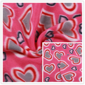 Polar Fleece Fabric Two Sides Brushed Fleece Fabric Polyester Fleece Fabric Heart Pattern Printed pictures & photos