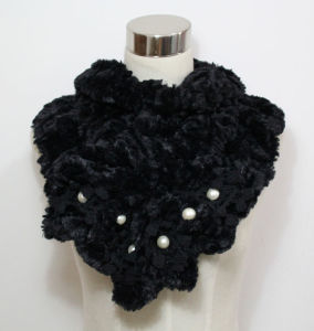 Lady Faux Fur Fashion Scarf with Pearls (YKY4365A-1) pictures & photos