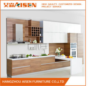 Popular Combine Veneer and Lacquer Modern Furniture Kitchen Cabinets pictures & photos