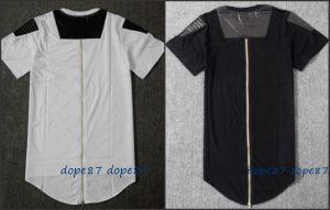 Black Long Zipper T-Shirt Leather Patchwork pictures & photos