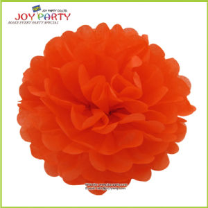 Salmon Orange Red Paper POM Poms for Halloween Party Decoration
