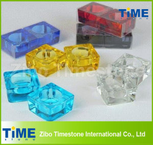 Solid Colored Glass Square Tealight Candle Holders pictures & photos