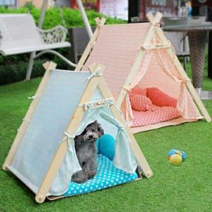 Pet Cotton House Wooden Dog Sleeping Tent pictures & photos