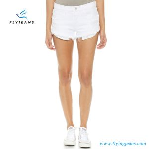 Women/Lady Fashion White Frayed Skinny Jeans Mini Pants MID Rise Denim Short pictures & photos