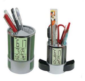 Desk Pen Holder Calendar Clock with Backlight