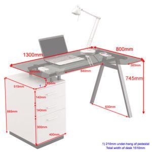 Glass Top Designer Kd Furniture Computer Desk & 3 Drawer Unit pictures & photos