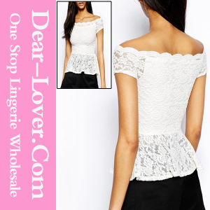 White off-Shoulder Lace Peplum Top pictures & photos