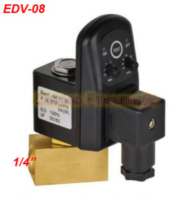 High Quality 1/4′′ Electric Drain Valve with Timer and Brass Tube Fitting 24-230V Edv-08