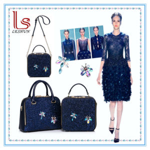 Vogue Fashion New Girl Single Shoulder Handbag Lady Slope Removable Chain Women Bag Female Small Crystal Blue Party Bag pictures & photos