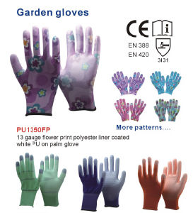 Flower Print Polyester Liner Coated White PU on Palm Garden Gloves pictures & photos