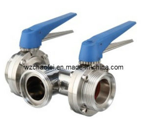 Sanitary 3 Way Butterfly Valve with Threaded Ends (CF8831)