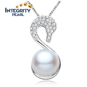 AAA 9-10mm Bread Round Freshwater Pearl Pendant 925 Silver White Animal Shape Pearl Pendant