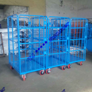 "500kg Two Doors Folding Roll Containers with 6"" Caster pictures & photos"