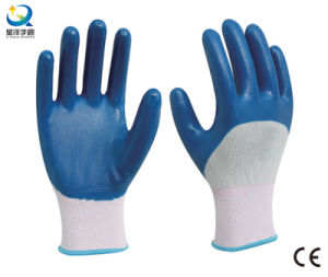 13G Nitrile White Polyester Shell, Blue Nitrile 3/4 Coated, Work Glove (N6040) pictures & photos