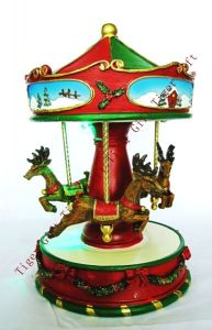 Polyresin Reindeer Merry-Go-Arround W/LED Light and Music Box