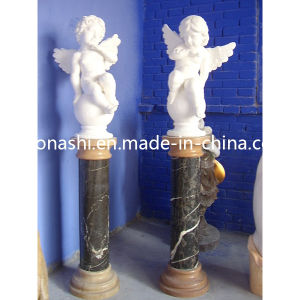 White Marble Stone Carved Psyche and Cupid Angel Statue Sculpture pictures & photos