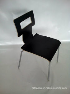 Black Laminated Bent Plywood Chair with Chrome Leg
