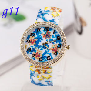 Plastic Cement Corlorful Flower Girl Graffiti Printing Watch pictures & photos