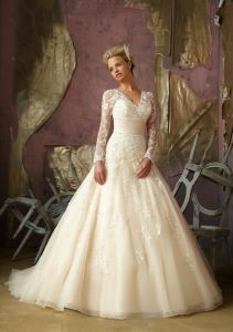 Long Sleeve Beaded A-Line Bridal Wedding Dresses (WMA026) pictures & photos