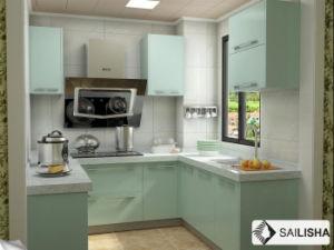 Modern Home Hotel Furniture Island U Shape Wood Kitchen Cabinet pictures & photos