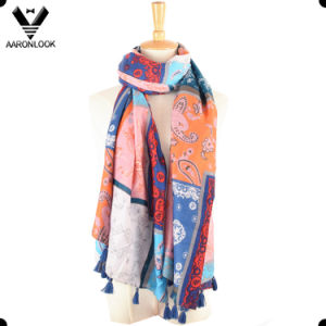 Lady Colorful Cashew Flower Print Voile Arab Scarf pictures & photos