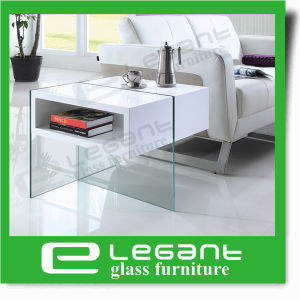 Clear Glass Center Table with White MDF Drawers pictures & photos