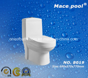 Water Closet Siphonic Flushing One-Piece Ceramic Toilet (8002) pictures & photos