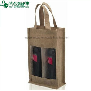 Display One Bottle Burlap Wine Bags Jute Gift Wine Bag with Clear Window pictures & photos