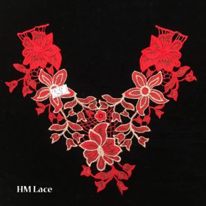 38*32cm Red Lace Charming Flowers Collar Trim White Polyester Sewing Applique Craft Hme960 pictures & photos