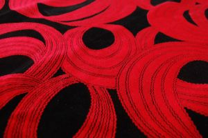 Black and Red Flocking Fabric pictures & photos