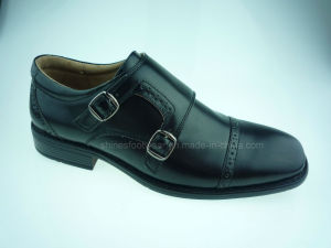 Black Men′s Fashion Shoes with Buckle