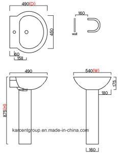 2016 New Design Ce Certification Pedestal Basin Pb16001 pictures & photos