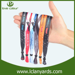 Custom Logo Textile Plastic Clip Wristband Heat Sublimation Logo pictures & photos