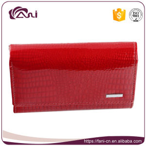 Red Color Small Women Crocodile Grain Genuine Leather Wallet pictures & photos