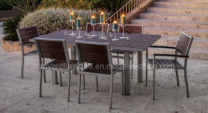 Modern European Simply Polywood Square Table 4 Stacking Chairs Outdoor Restaurant Furniture Set pictures & photos